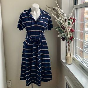 NWT LACOSTE Women's hooded dress with belt.